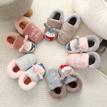 Toddlers Kids Christmas Deer Flannel Warm Winter Home House Family Slippers Shoes For Kids and Parents