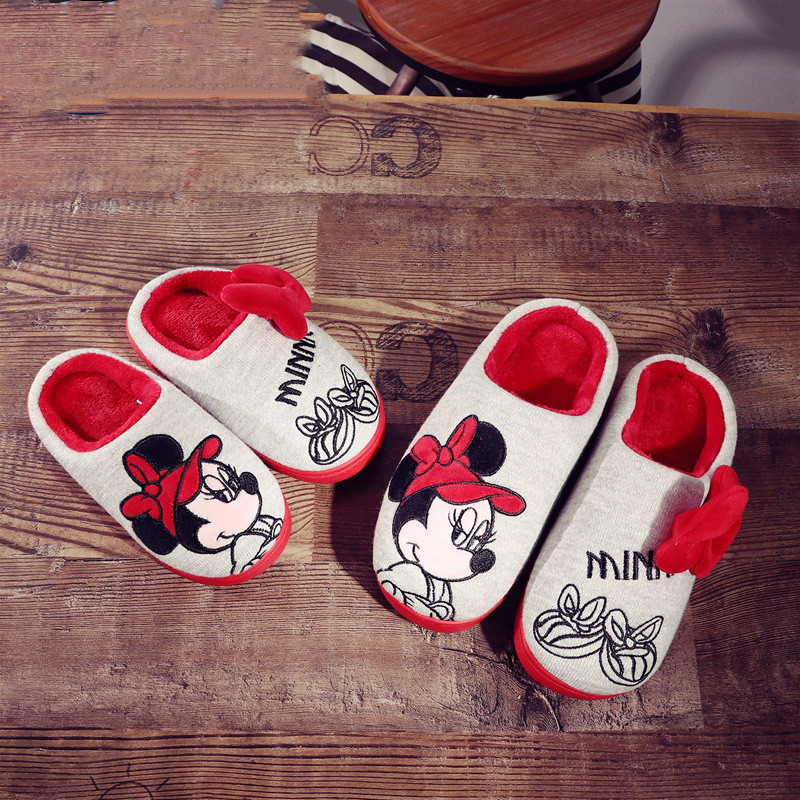 Toddlers Kids Red Minney Bowknot Warm Winter Home House Slippers