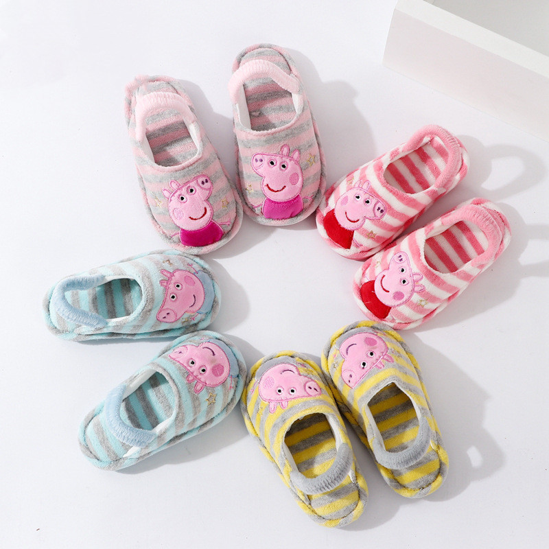 Toddlers Kids Peppa Pig Stripes Warm Winter Home House Slippers