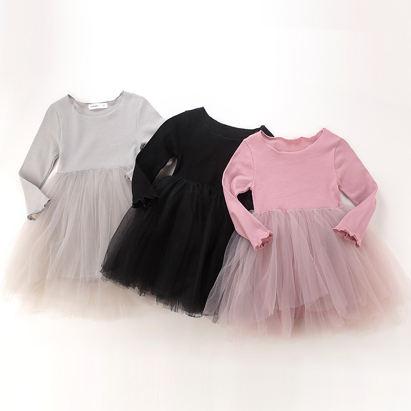 Toddler Girl Tulle Tutu Dresses Long Sleeve Princess Dresses
