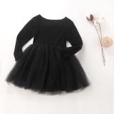 Toddler Girl Tulle Tutu Dresses Long Sleeve Princess Dresses