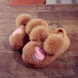 Toddlers Kids Peppa Pig Plush Pompom Flannel Warm Winter Home House Slippers