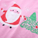Toddler Girl 2 Pieces Pajamas Sleepwear Christmas Santa Claus Long Sleeve Shirt & Legging Sets