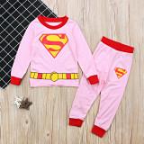 Toddler Boy 2 Pieces Pajamas Sleepwear Blue Superman Long Sleeve Shirt & Legging Sets