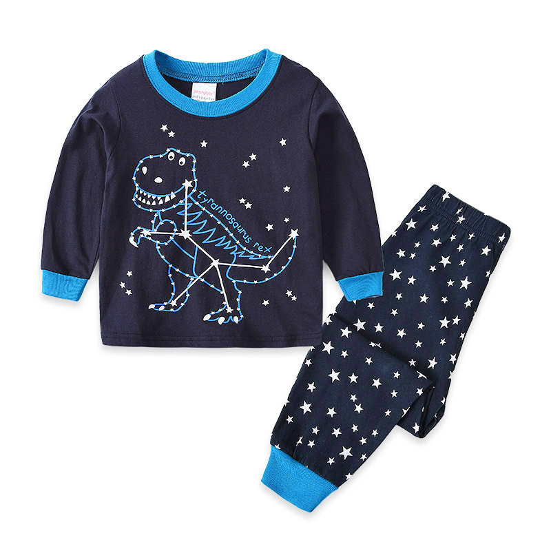 Kids Navy Stars Dinosaur Pajamas Sleepwear Set Long-sleeve Cotton Pjs