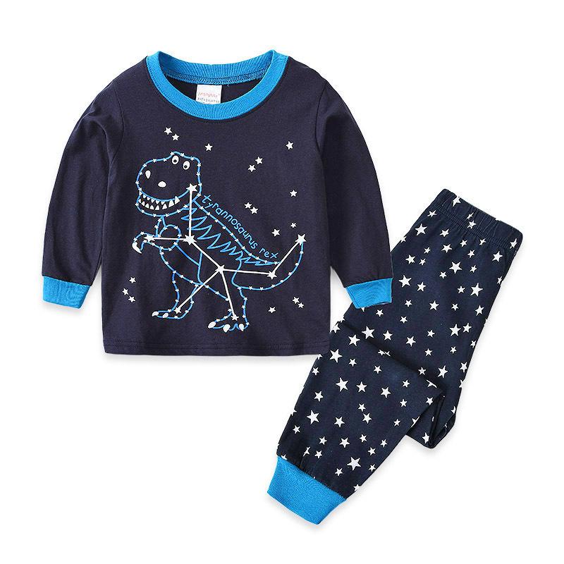 Kids Navy Stars Dinosaur Pajamas Sleepwear Set Long-sleeve Cotton Pjs