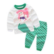 Kids Mermaid Princess Pajamas Sleepwear Set Long-sleeve Cotton Pjs
