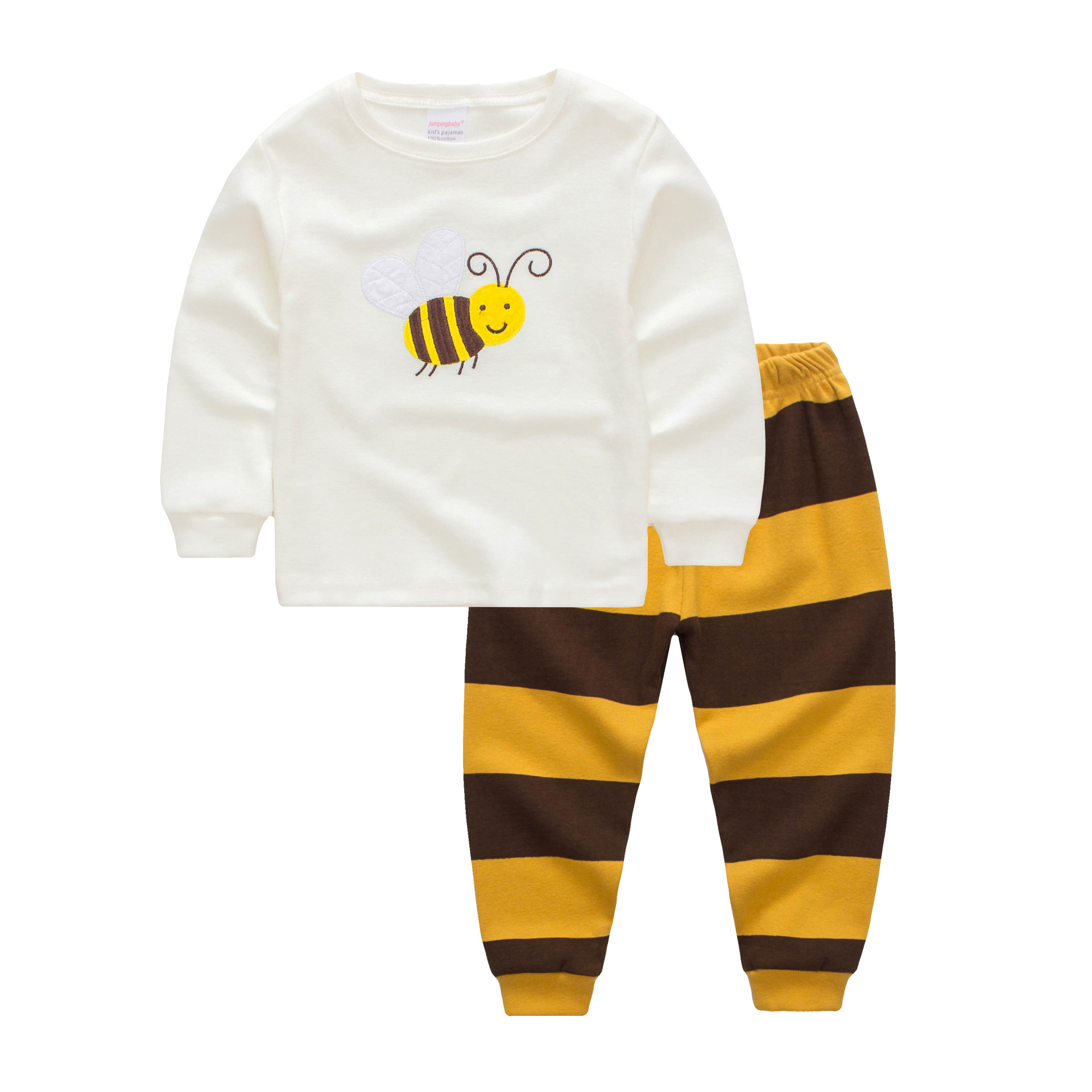Kids Yellow Bee Stripes Pajamas Sleepwear Set Long-sleeve Cotton Pjs