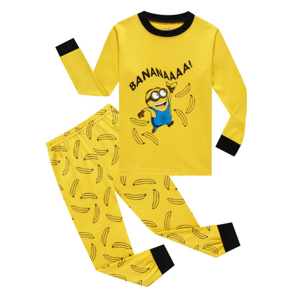 Kids Minions Bananas Pajamas Sleepwear Set Long-sleeve Cotton Pjs