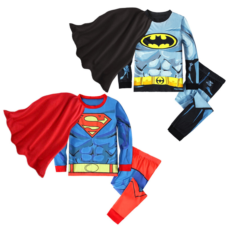 Kids Marvel Super Man Pajamas Sleepwear Set With Cloak Long-sleeve Cotton Pjs