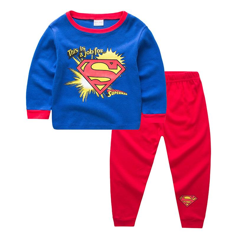 Kids Blue Super Man Pajamas Sleepwear Set Long-sleeve Cotton Pjs