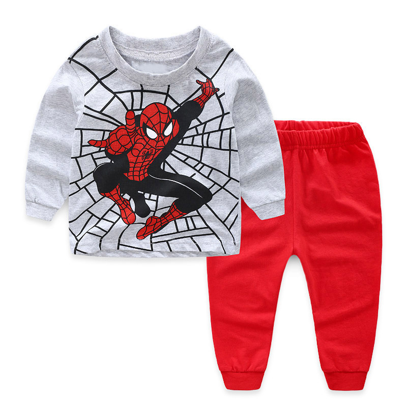 Kids Spider Man Pajamas Sleepwear Set Long-sleeve Cotton Pjs