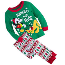 Kids Christmas Mickey Mouse Goofy Pajamas Sleepwear Set Long-sleeve Cotton Pjs