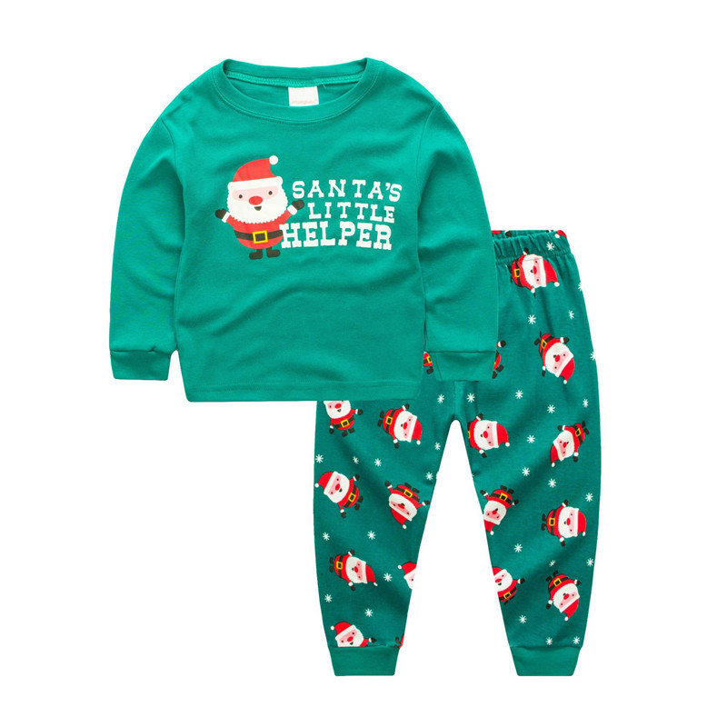 Kids Christmas Man Pajamas Sleepwear Set Long-sleeve Cotton Pjs