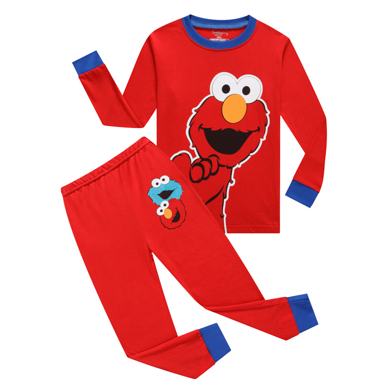 Kids Sesame Street Elmo Pajamas Sleepwear Set Long-sleeve Cotton Pjs
