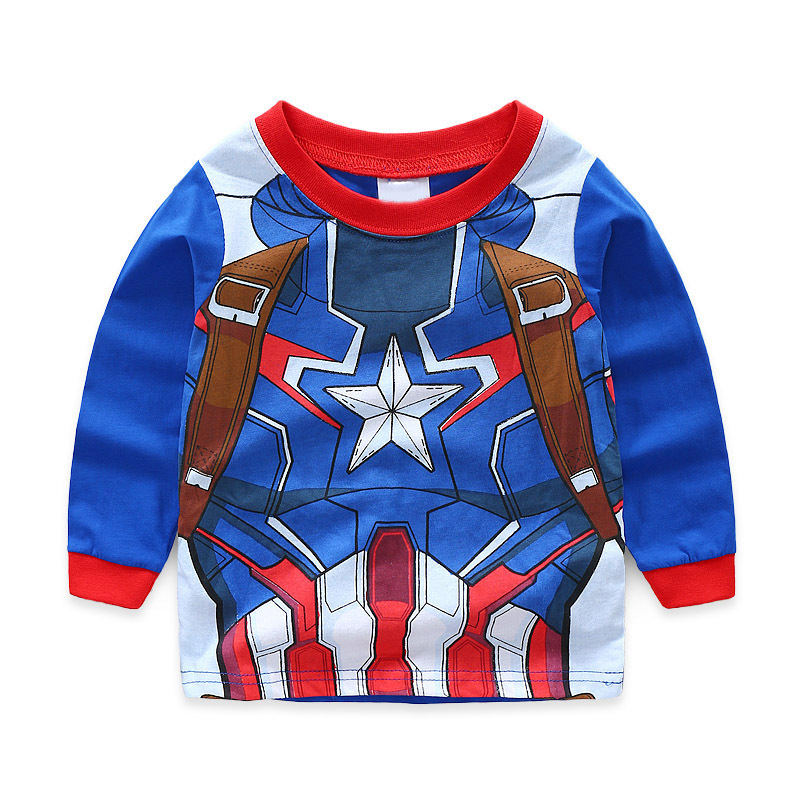 Kids long sleeves pyjamas Boys cotton sleepwear ironman Superman SZ 1 2 3 4 5 6
