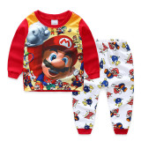 Kids Super Mario Pajamas Sleepwear Set Long-sleeve Cotton Pjs