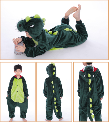 Kids Green Dinosaur Onesie Kigurumi Pajamas Kids Animal Costumes for Unisex Children