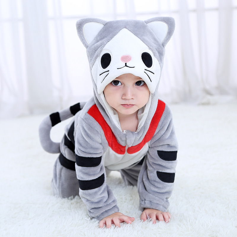 Baby Chi's Sweet Home Grey Cat Onesie Kigurumi Pajamas Animal Costumes for Unisex Babys
