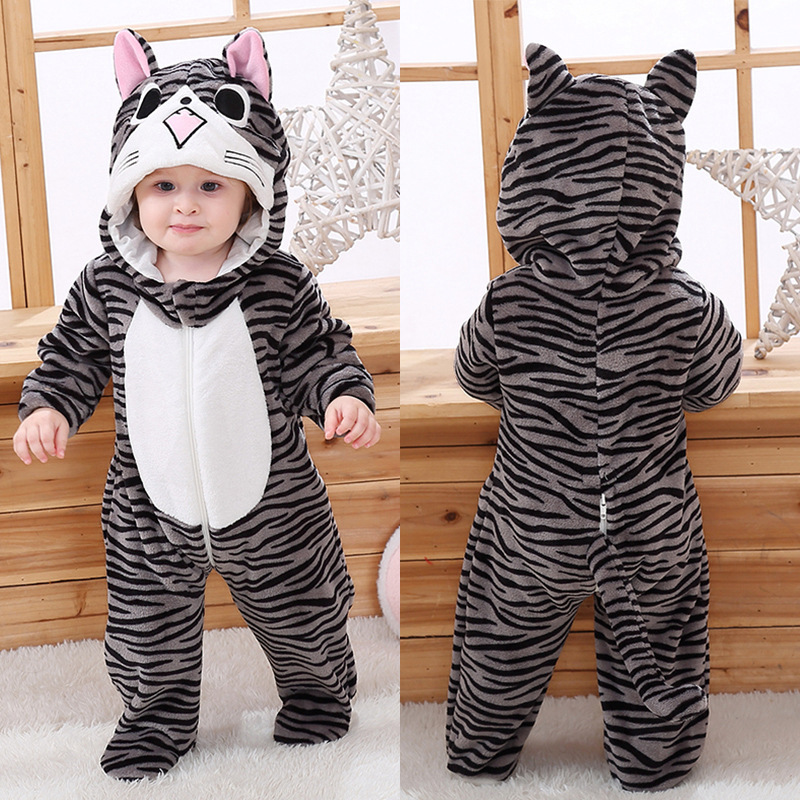Baby Cute Grey Stripes Cat Onesie Kigurumi Pajamas Animal Costumes for Unisex Babys