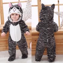 Baby Cute Grey Stripes Cat Onesie Kigurumi Pajamas Animal Costumes for Unisex Babys