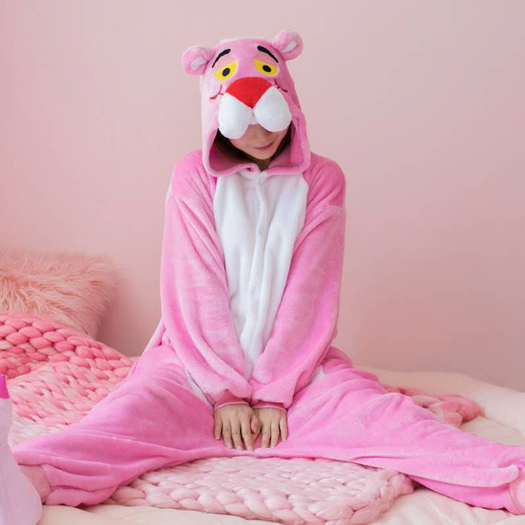 Kids Pink Panther Onesie Kigurumi Pajamas Animal Costumes for Unisex Children
