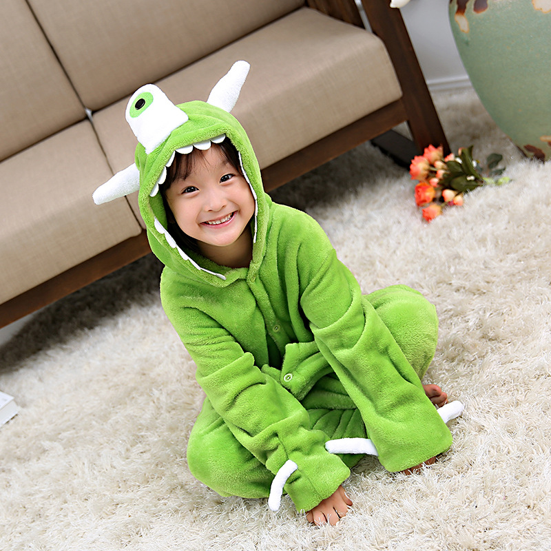Kids Green The One Eyed Monster Onesie Kigurumi Pajamas Animal Costumes for Unisex Children