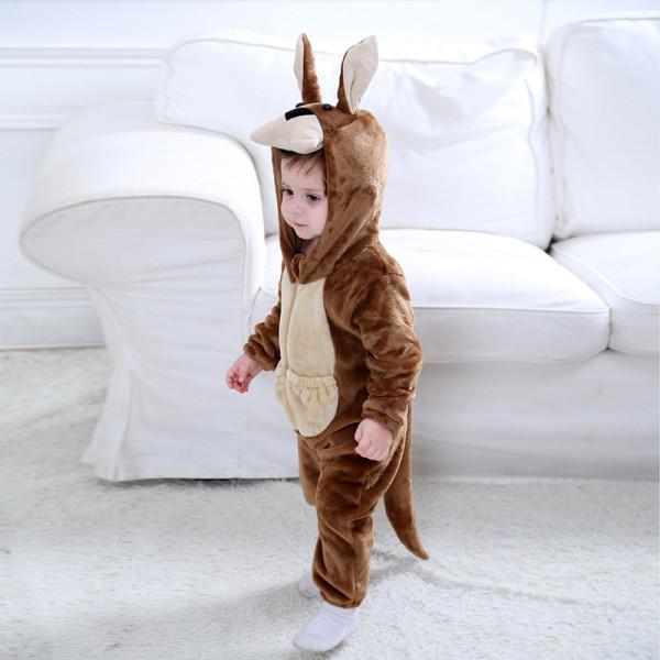 Baby Brown Kangaroo Onesie Kigurumi Pajamas Animal Costumes for Unisex Babys