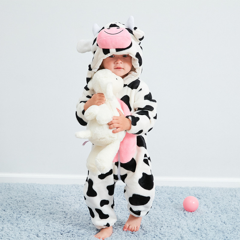 Baby White Cow Onesie Kigurumi Pajamas Animal Costumes for Unisex Babys