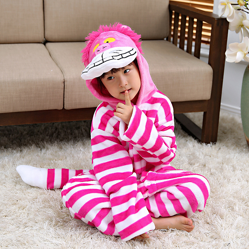 Kids Cheshire Cat Pink Stripes Onesie Kigurumi Pajamas Animal Costumes for Unisex Children