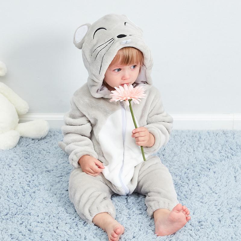 Baby Grey Mouse Onesie Kigurumi Pajamas Animal Costumes for Unisex Babys