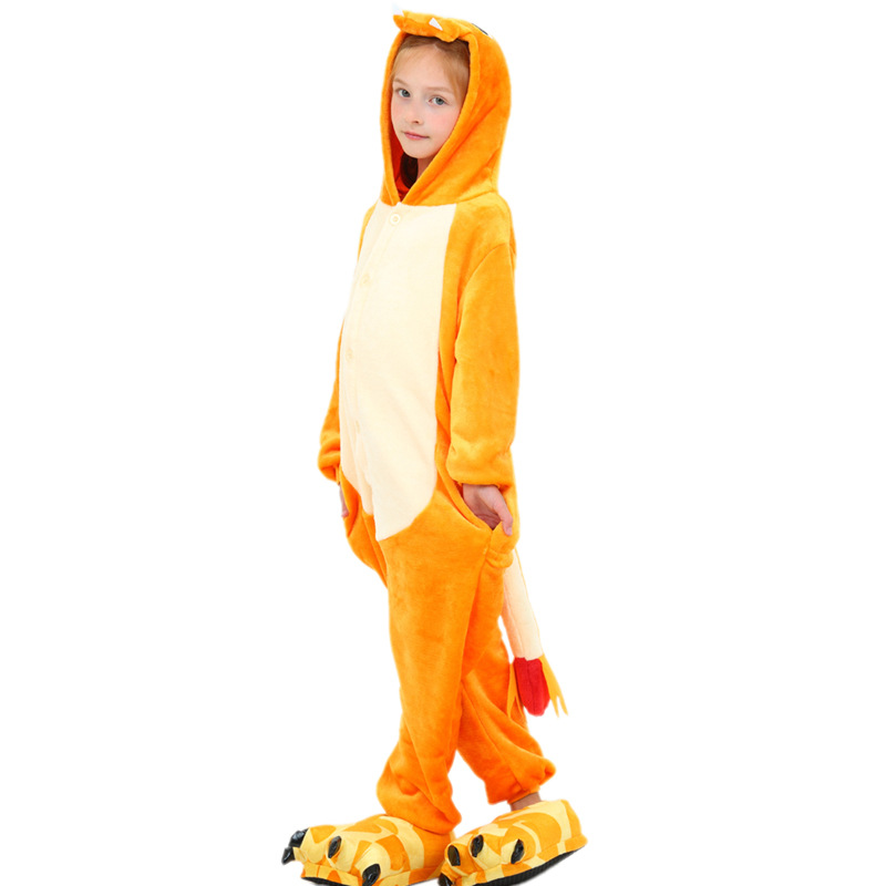 Kids Orange Dinosaur Onesie Kigurumi Pajamas Animal Costumes for Unisex Children