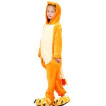 Kids Orange Dinosaur Onesie Kigurumi Pajamas Animal Costumes for Unisex Children
