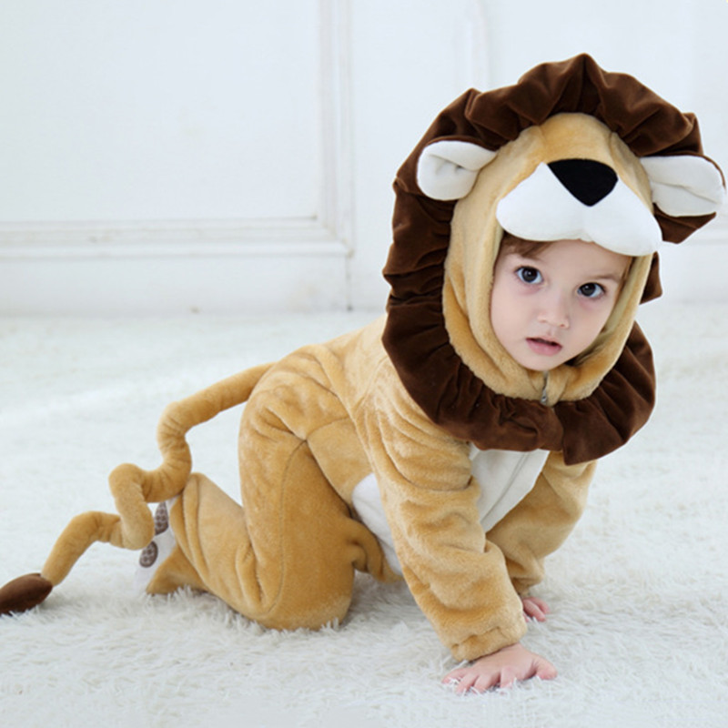Baby Brown Leo Lion Onesie Kigurumi Pajamas Animal Costumes for Unisex Babys