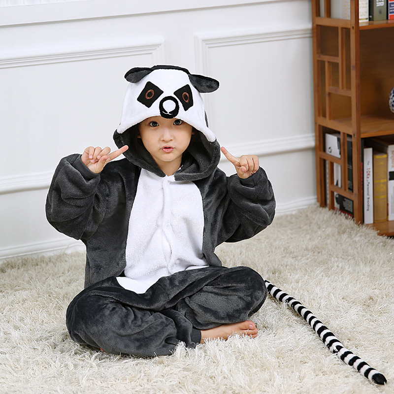 Kids Grey Ring-tailed Lemur Onesie Kigurumi Pajamas Animal Costumes for Unisex Children