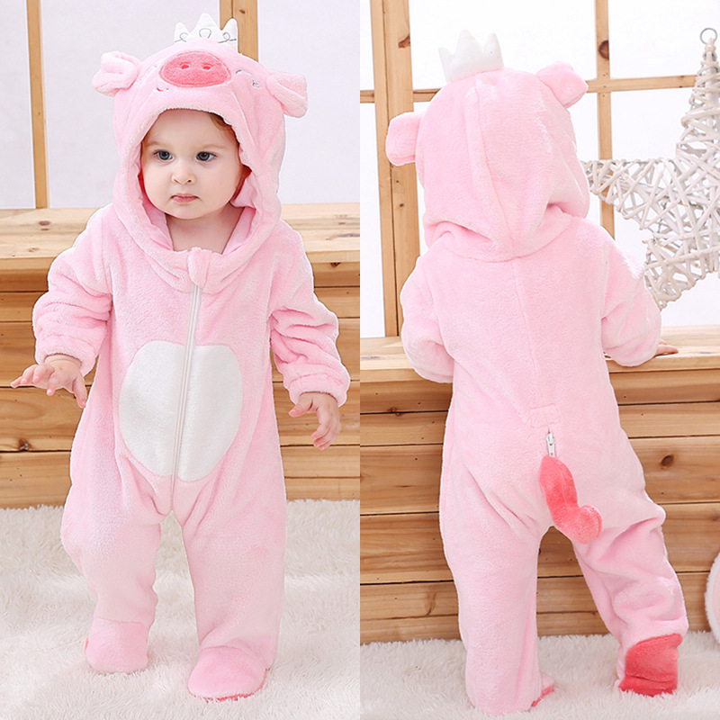Baby Pink Crown Pig Onesie Kigurumi Pajamas Animal Costumes for Unisex Babys