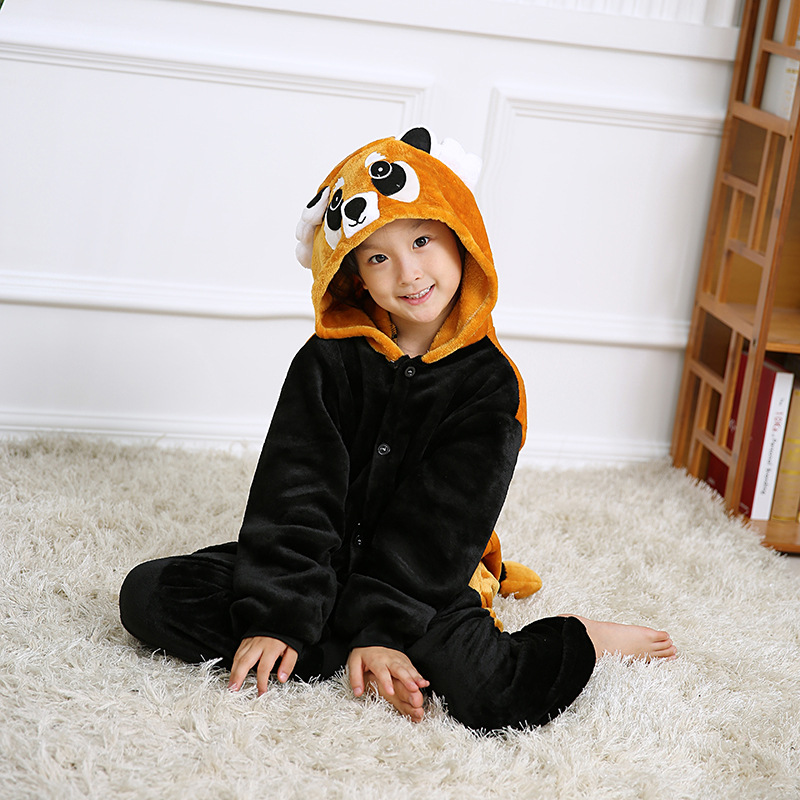 Kids Brown Raccoon Onesie Kigurumi Pajamas Animal Costumes for Unisex Children