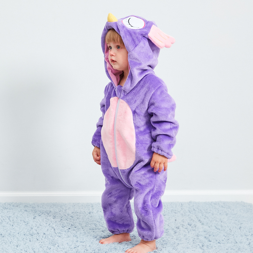 Baby Purple Owl Onesie Kigurumi Pajamas Animal Costumes for Unisex Babys