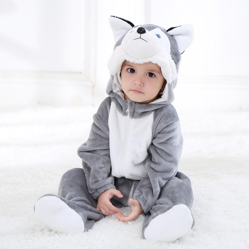 Baby Grey Huskie Onesie Kigurumi Pajamas Animal Costumes for Unisex Babys
