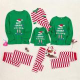 Christmas Family Matching Sleepwear Pajamas Sets Happy ELF Hohoho Top and Red Stripes Pants