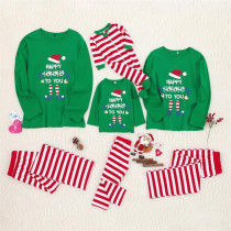 Christmas Family Matching Sleepwear Family Pajamas Sets Happy ELF Hohoho Top and Red Stripes Pants