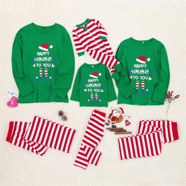 Christmas Family Matching Sleepwear Pajamas Sets Green Top and Red Stripes Pants