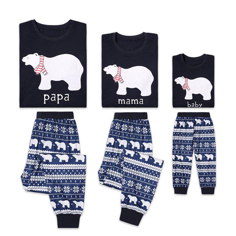 Christmas Family Matching Sleepwear Family Pajamas Sets Navy Papa Mama Bear Top and Snow Geometrical Pattern Pants