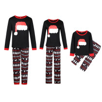 Christmas Family Matching Sleepwear Pajamas Sets Christmas Hat Top and Deers Trees Geometrical Pants
