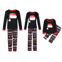 Christmas Family Matching Sleepwear Pajamas Sets Christmas Hat Top and Deers Trees Geometrical Pants
