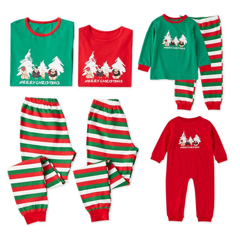 Christmas Family Matching Sleepwear Pajamas Sets Green Christmas Tree Top and  Stripes Pants
