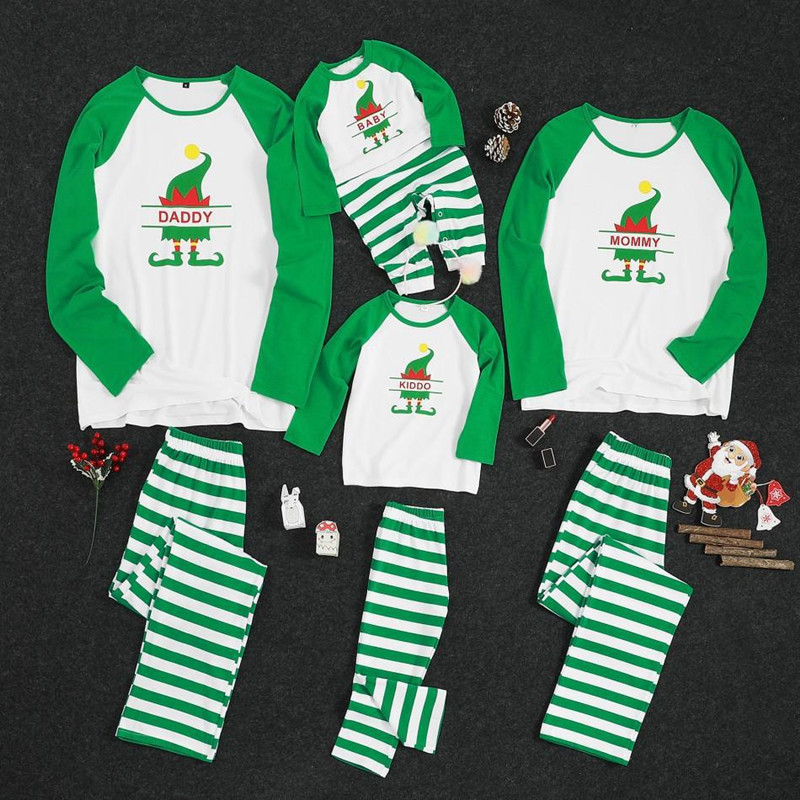 Christmas Family Matching Sleepwear Pajamas Sets White Christmas ELF Tree Top and Green Stripes Pants