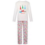 Christmas Family Matching Sleepwear Pajamas Sets Christmas Santa Claus Hohoho Top and Prints Pants