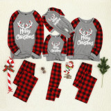 Christmas Family Matching Sleepwear Pajamas Sets White Antlers and Red Plaids Pants