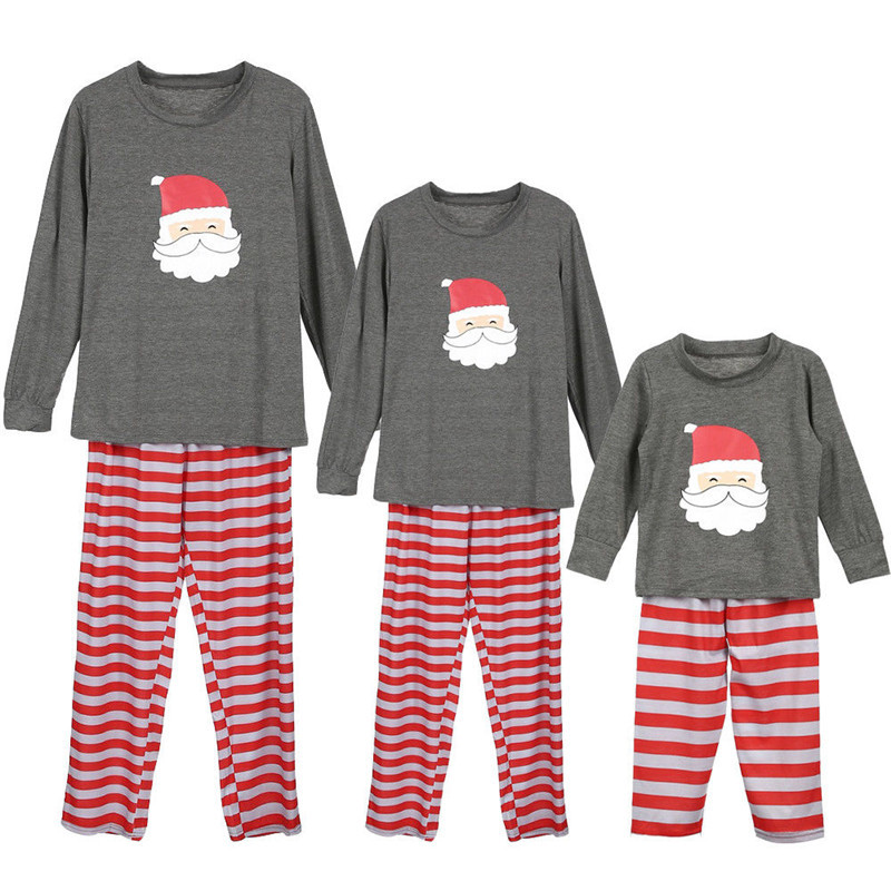 Christmas Family Matching Sleepwear Pajamas Sets Grey Father Christmas Top and Red Stripes Pants